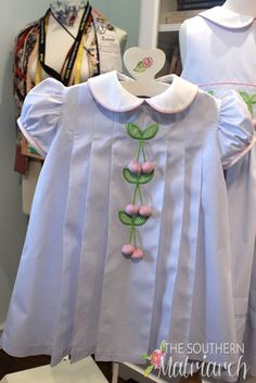 Southern Matriarch: Cherries --- Again using Children's Corner Kathy/Kelley pattern. Baby Girl Dress Patterns, Baby Dress Design, Frock Patterns, Frock Design, Cotton Frocks For Kids, Kids Frocks, Frocks For Girls, Baby Girl Party Dresses, Little Girl Dresses