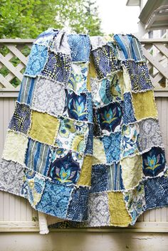 Portobello Throw Picnic Rag Quilt by WestCoastQuilts on Etsy