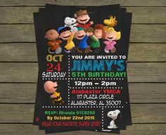 Peanuts Snoopy Gang Birthday Party Invitation by PYOpartyinvites