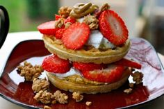 waffles with strawberries & granola