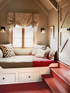 Few architectural design elements appeal to me as much as a built in window seat. When we bought our home, almost a decade a. Alcove Bed, Bunk Beds Built In, Narrow Rooms, Small Craft Rooms, Wood Bedroom Furniture, Modern Furniture, Hemnes, Modern Interior Design, Built Ins