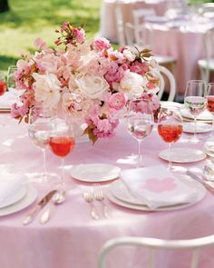 Pink Cherry Blossom and Flower Centerpieces!