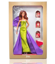 Louboutin barbie in cocktail green dress