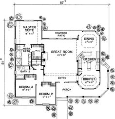 Floor Plans AFLFPW18195 - 1 Story Country Home with 3 Bedrooms, 2 Bathrooms and 1,920 total Square Feet