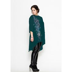 Carmakoma - Dresses ... teal green tunic over black leather leggings ... plus size fashion