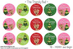 Merry and Bright <3 Shop our Digital Bottle Cap Images @ www.thetrendyowl.com!