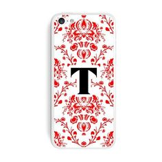Letter T Initial Damask Elegant Red Black White iPhone 5C Skin