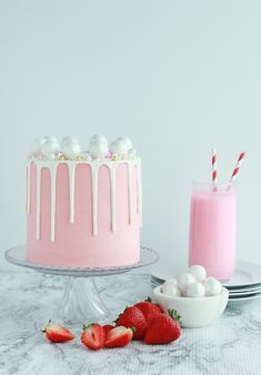 Strawberry Malt Cake - Baking with Blondie on We Heart It 6 Cake, No Bake Cake, Vanilla Bean Cakes, Swirl Cake, White Chocolate Ganache, Malted Milk, White Cake Mixes, Candy Melts