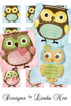 Whimsical Owls 1 x 1 Inch Altered Images by DesignsbyLindaNee