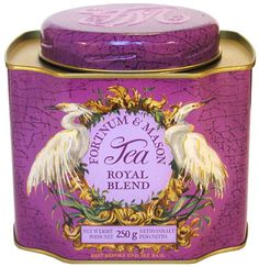 Fortnum & Mason Royal Blend Tea Tin, Purple with Birds (egrets?) Flanking oval name label, London, UK