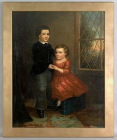 """American School(mid 19th c.), oil on canvas portrait of a young boy and girl, bears a New York canvas stamp verso, 50"""" x 40""""."""