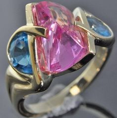 Strellman's 14K Yellow Gold Fancy Lighthouse Lens Pink Sapphire Blue Topaz Ring #Strellmans #SolitairewithAccents