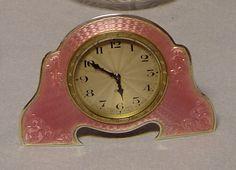 English silver and pink guilloche enamel Art Deco dressing table set. - Gavin Douglas Antiques