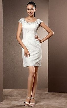 Mantel / Spalte scoop kurz / Mini-Spitze Hochzeitskleid – EUR € 107.24