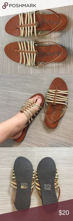 Reef sandals gold and brown leather Reef sandals with gold braiding and brown leather. Never worn. Size 9. Super comfy. Reef Shoes Sandals