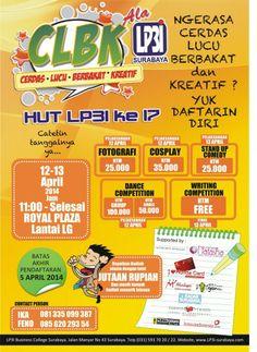 CLBK (Cerdas – Lucu – Berbakat – Kreatif) 12 – 13 April 2014 At Royal Plaza Lantai LG 11.00 – selesai  http://eventsurabaya.net/clbk-cerdas-lucu-berbakat-kreatif/
