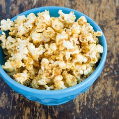 Peanut Butter Popcorn: Honey and peanut butter make this sweet and salty popcorn super flavorful and eliminate the need for extra butter.