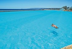 World's largest swimming pool (more than half a mile long) in Algarrobo, Chile. This would kind of freak me out though.