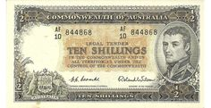 1954 Australia Ten Shillings - AF 10 -This note is pretty much near to perfect. On the Obverse just under the word Australia is a small stain which has come through on the reverse as well. This small detraction actually means a great note at a much more affordable price. - See more at: https://www.noteworthy-collectibles.com/1954-Australia-Ten-Shilling-Bank-note-AF1084#sthash.HGeUy7cw.dpuf