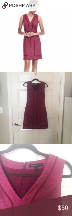Banana Republic Pink Herringbone Dress EUC (worn once) pink herringbone dress from BR; fray/fringe detail; made from wool flannel material, lined, back zipper. Love this dress so much, it would just be too expensive to get tailored- it's so perfect for work! Banana Republic Dresses