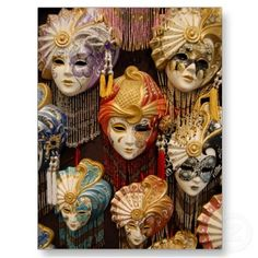 Carnival Masks in Venice Postcard by cindybee23