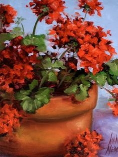 'Geraniums in Red' - by Nancy Medina