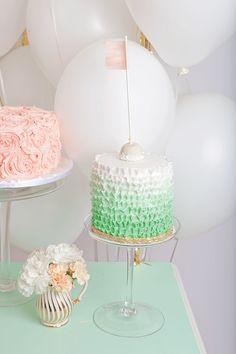 green ruffle + pink rosette Cake / Tracey Kiansky Photography