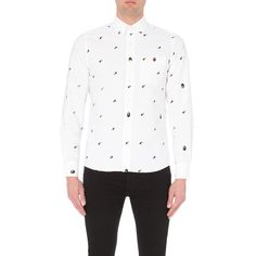 A Bathing Ape Ape print cotton shirt ($315) ❤ liked on Polyvore featuring men's fashion, men's clothing, men's shirts, men's casual shirts, mens long sleeve button up shirts, mens patterned shirts, mens button down shirts, mens white cotton shirts and mens casual long sleeve button down shirts