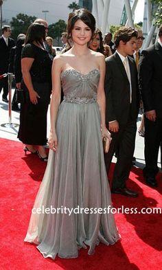 Selena Gomez Grey Strapless Chiffon Red Carpet Dresses 2009 Primetime  Creative Arts Emmy Awards Formal Dress 4a31d0a03c7d