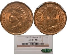 1909-S Indian Head Cent NGC MS64RB CAC - Submitted by Daniel Fusco #CoinOfTheDay #COTD