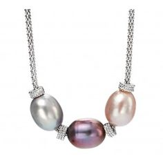 Freshwater Pearl and Cubic Zirconia Necklace Freshwater Pearl Necklaces, Pearl Earrings, Sterling Silver Necklaces, Fresh Water, Bling, Color, Jewelry, Sterling Necklaces, Pearl Studs