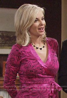 Ashley's pink wrap dress on The Young and the Restless.  Outfit Details: https://wornontv.net/90003/ #TheYoungandtheRestless