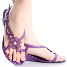 Purple Summer Flower Rhinestone Open Toe Women Wedge Sandal Shoes - Looking for best sandals to go with my Wedding Dress