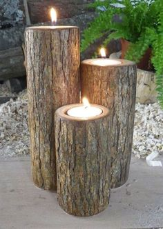 Wood candlesticks made only from log. Simple and awesome rustic decor!