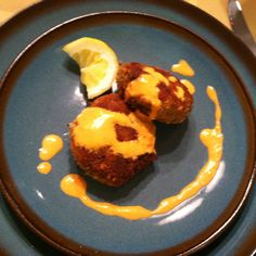 Crab Cakes with a spicy roasted red pepper remoulade