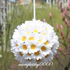 Silk Daisy Flower Ball Gerbera Flower Wedding Party Kissing Balls   eBay    LOVE THIS to hang from the girls' playroom or even bedrooms!  I love the gerbera daisy flowers most!  Colors in pink, purple and white perhaps in varying sizes: