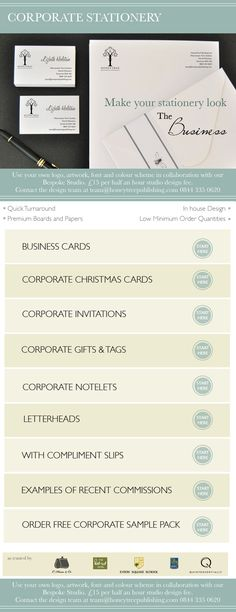 Corporate Stationery from HoneyTree - What we provide to enable you to stand out and #CreateABuzz Corporate Invitations, Business cards, Corporate Christmas cards, Corporate notelets, corporate event stationery, letterheads & with compliment slips, plus our unique tags as part of our corporate gifts.