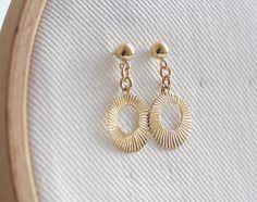 Gold hoop earrings simple gold bridal earrings by SharonTasker