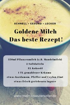 Goldene Milch - das beste Rezept Golden milk is a drink that is now often found in powder form in the drugstore or organic market. But I think that only homemade is really healthy. Health Snacks, Health Desserts, Healthy Eating Tips, Healthy Nutrition, Vegetable Drinks, Vegetable Recipes, Healthy Smoothies, Healthy Drinks, Healthy Sweets