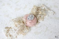 Pink blush rose and lace garter with rhinestone embellishment.  #DBBridalStyle