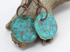 Hammered Copper Earrings Patina Verdigris Blue Green, Small Round, Dark Brown Copper Earwires, Earthy, Rustic, Primitive by Lost Marbles Jewelry, $23.00