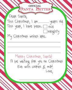 Letter to santa free printable christmas ideas pinterest santa letter spiritdancerdesigns Choice Image