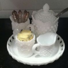 White milk glass condiment tray I but together with vintage little spoons!