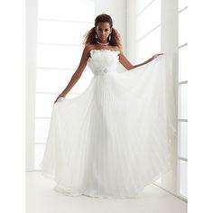 Sheath/Column Scalloped-Edge Sweep/Brush Train Chiffon Wedding Dress  – GBP £ 118.85