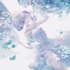 Dark Anime Guys, Cool Anime Girl, Kawaii Anime Girl, Anime Art Girl, Manga Girl, Manga Anime, Underwater Drawing, Queen Anime, Anime Witch