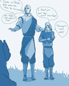 Airbender: All Grown Up - Avatar Aang and Tenzin (father and son)
