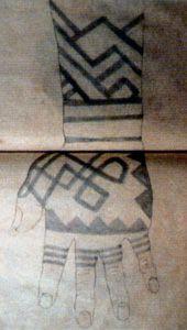 Edo Period drawings of Ainu tattooing, ca. 1800.