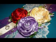 Ribbon flowers: rose from the narrow ribbon/Цветы из лент: роза из узкой ленты.МК - YouTube