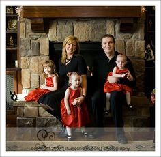 Fireplace Family Portraits | Lovely family photo next to the cozy fireplace. This was actually one ...