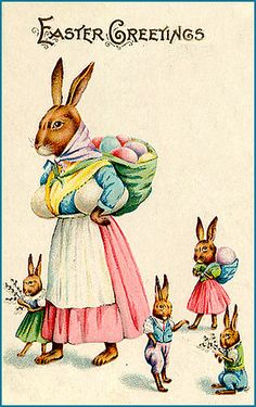 At first I thought the mother rabbit had enormous bewbs, but then I realized it was just an egg tucked under each arm.  vintage Easter